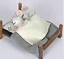Cute Pin Felt Needle Felt Collectible Mouse Mice Couple in Wooden Bed Gift Bride