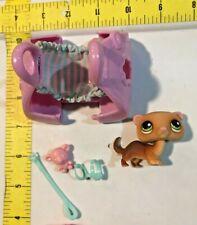 Littlest Pet Shop #209 Ferret Brown Green Eyes Blue Harness & Leash Pink Carrier