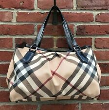 "Burberry Nova Check Melbury Tote W/Black Patent Leather Handles 14""x10"""