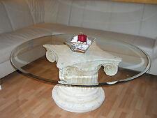 Runder Glastisch 120cm Couchtisch Antiker Wohnzimmertisch Säulentisch Römertisch
