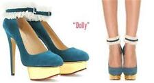 Charlotte Olympia Dolly Teal Suede Gold Platform Ruffle Cuff Heel Pump Shoes 40