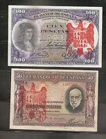 LOTE 2 BILLETES 100 PESETAS 1931 / 50 PESETAS 1935 BURGOS CIVIL RESELLO FRANCO k