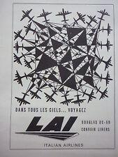 3/1956 PUB LAI LINEE AEREE ITALIANE ROMA ITALIA CONVAIR DC-6B AIRLINER FRENCH AD