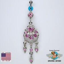 Beautiful Chandelier Dangle Belly Navel Ring Bar Elegant Pink CZ Piercing (D15)