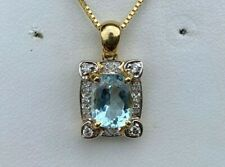 10K GOLD AQUAMARINE & DIAMOND PENDANT 2.4 GRAMS