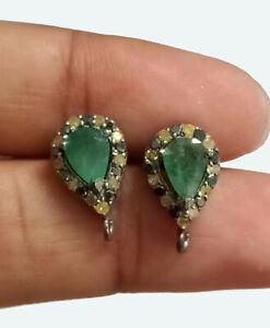 Natural Yellow Black Diamond Emerald Gemstone Stud 925 Sterling Silver Earring