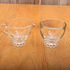 Vintage Glass Candlewick Base Clear Cream and Sugar