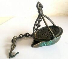 Antique Old Brass Rare Jali Cut Design Beautiful Hanging Light Oil Lamp Deepak