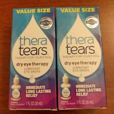 2 Pack Thera Tears Dry Eye Therapy Lubricant Eye Drops 1 oz / 30 mL exp: 04/2023