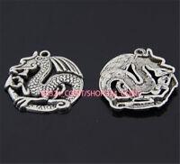 P962 5pc Tibetan Silver dragon Charm Beads Pendant accessories wholesale