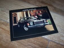 Catalogue / Brochure CHRYSLER Cordoba 1978 USA  //