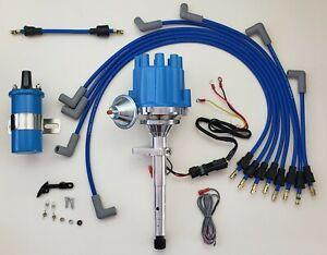 49-53 FORD FLATHEAD 239 255 Small Cap HEI Distributor +  PLUG WIRES + BLUE COIL