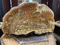 vintage painted Burned conk mushroom fungus signed folk art - Sue Marie 1985