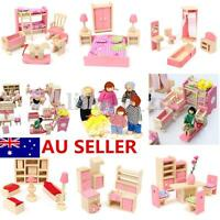AU Xmas Gift Wooden Doll House Miniature Family Children Furniture Set Kit Toys