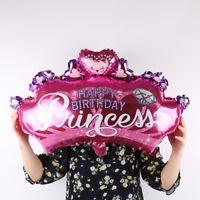 hot pink Crown princess Birthday Party Decoration Supplies Round Foil Balloon