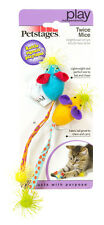"""Cat Kitten Petstages  """"Twice Mice""""  Bat and Chase MiceToys with Rattle MPN 383"""