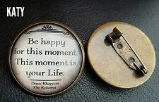 Vintage Round Small Brooch Pins Glass Cabochon Famous Quote Copper Badge Broach