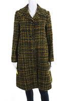 Seventy Womens Tweed Wool Knit Button Down Jacket Coat Black Size IT 40