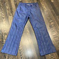 Vtg 60s 70s Sears BLUE JEANS Denim Hippie Disco Flare Leg Dark Wash MENS 32 28
