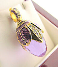 FABULOUS RUSSIAN EGG PENDANT STERLING SOLID 925AND 24K GOLD with AMETHYST