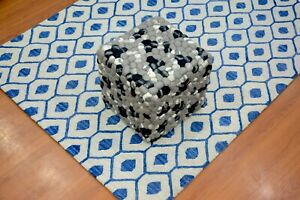Handmade Pouf/Ottoman - Footstool,Comfortable Chair or Footrest - Grey Black