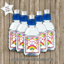 RAINBOW BIRTHDAY PARTY PERSONALISED POPTOP DRINK LABELS x 12