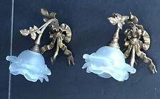 Paire d'appliques bronze Style Louis XVI Feuilles et Noeud de Ruban