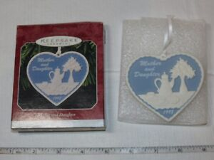 HALLMARK Keepsake Ornament 1998 Mother and Daughter Porcelain Heart blue