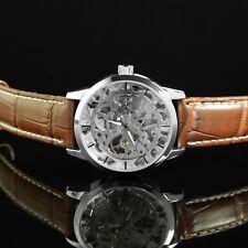 Abbrecci Vintage Style Mechanical Skeleton Wrist Watch Brown Leather Strap - W3