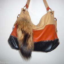 Real Large Natural Raccoon Tail Fur Keychain Tassel Bag Tag Charm Handbag Gift