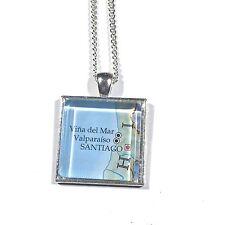 SANTIAGO VALPARAISO CHILE SOUTH AMERICA Map Pendant Silver necklace ATLAS F04