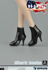 "1/6 Women Leather Ankle Boots Black For 12"" Phicen Hot Toys Female Figure ❶USA❶"