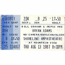 Bryan Adams & The Hooters Concert Ticket Stub Mountain View Ca 8/13/87 Shoreline