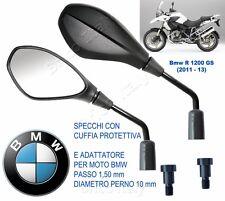 2 SPECCHIETTI RETROVISORI MOTO MANUBRIO M10 PASSO 1,50 per BMW R1200GS 2011-2013