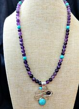 "Jay King  Campitos Blue Turquoise & Amethyst Pendant & 18"" Beaded Necklace NWT"
