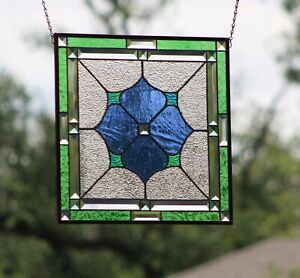 Stained Glass Window Panel Beveled- Hanging ≈17.5 X 17.5