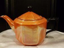 "Rudolf Wachter Bavaria Orange  Lusterware Black Trim Teapot Germany 5 1/2"" h 9""w"