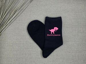 Mummy Gift Mummysaurus Ladies Navy Socks with Pink Print Birthday Christmas