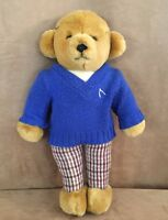 Merrythought Ironbridge Shops Blue sweater plaid pants Teddy Bear gentleman