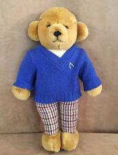 Merrythought Ironbridge Shops Blue sweater plaid pants Teddy Bear gentleman