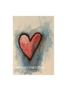 """Artist Trading Cards ACEO  Original Painting 2 2.5"""" X 3.5"""" Red Heart By Kenna"""