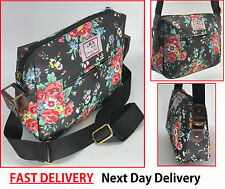 New Black Vintage Flower Floral Crossbody canvas messenger Shoulder Bag Satchel
