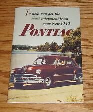 1949 Pontiac Owners Operators Manual 49 Chiefton Streamliner