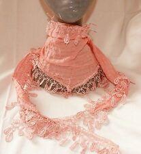 Tuch Halstuch  rosa Vintage-Spitze, Dreieckstuch Stola Schal Häkel-Bommeln weich