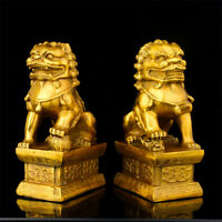 1 Pair Chinese Feng Shui Copper Lion Fu Foo Dog Statue Evil Guardian Door Home