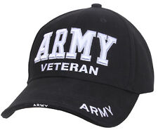 US Army Veteran Ballcap Baseball Cap Military Black Hat Rothco 3951