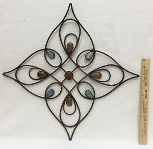 """Wall Hanging Metal Decor Brushed Copper Ceramic Stone Accents 14"""" Square"""