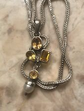 Silver Gemstones Pendant With Pearl Includes Chain.