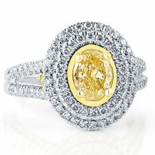 GIA Certified 1.90 Ct Light Yellow Oval Shaped Halo Diamond Engagement Ring 18k
