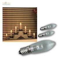 3 x LED E10 Glühbirne Topkerze Spitzkerze Riffelkerze Ersatz warmweiß E1-0 0,2W